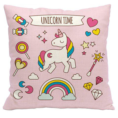 Cartoon Unicorn Car Living Room Sofa Bedroom Cushion Concealed Zipper Pillow Case - PINK 45X45CM