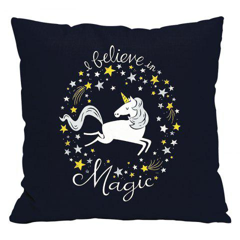 Cartoon Unicorn Car Living Room Sofa Bedroom Cushion Concealed Zipper Pillow Case - CADETBLUE 45X45CM