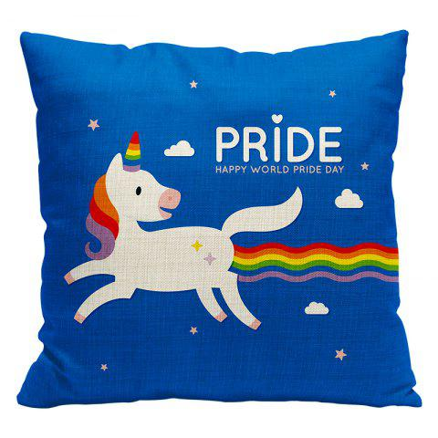 Cartoon Unicorn Car Living Room Sofa Bedroom Cushion Concealed Zipper Pillow Case - BLUE/WHITE 45X45CM