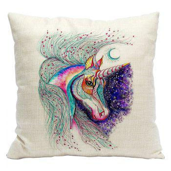 Cartoon Unicorn Car Living Room Sofa Bedroom Cushion Concealed Zipper Pillow Case - WHITE AND PURPLE WHITE/PURPLE