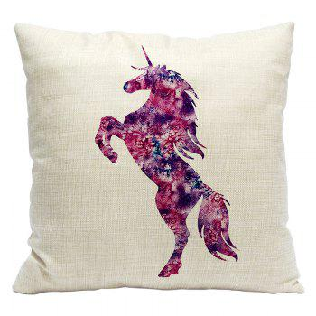 Cartoon Unicorn Car Living Room Sofa Bedroom Cushion Concealed Zipper Pillow Case - BEIGE AND RED BEIGE/RED