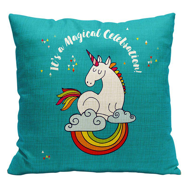 Cartoon Unicorn Car Living Room Sofa Bedroom Cushion Concealed Zipper Pillow Case - BLUE 45X45CM