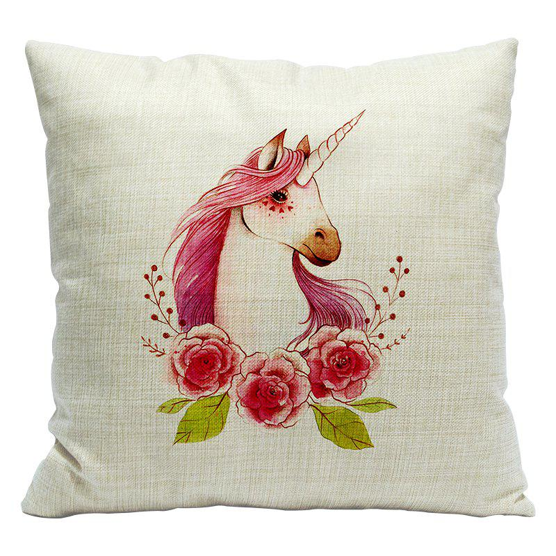 Cartoon Unicorn Car Living Room Sofa Bedroom Cushion Concealed Zipper Pillow Case - WHITE/PINK 45X45CM