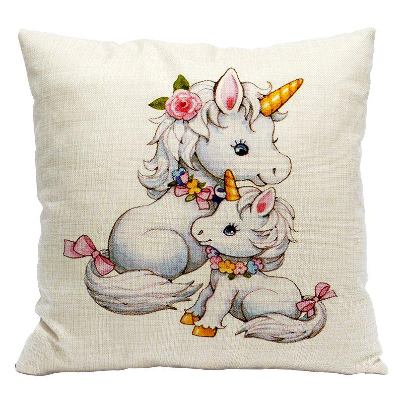 Cartoon Unicorn Car Living Room Sofa Bedroom Cushion Concealed Zipper Pillow Case - WHITE/YELLOW 45X45CM