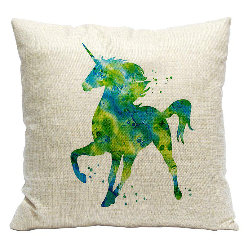 Cartoon Unicorn Car Living Room Sofa Bedroom Cushion Concealed Zipper Pillow Case - WHITE/GREEN 45X45CM