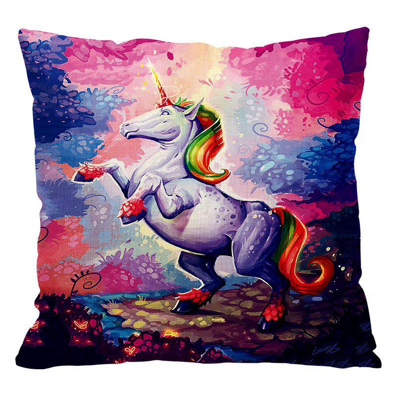 Cartoon Unicorn Car Living Room Sofa Bedroom Cushion Concealed Zipper Pillow Case - COLOUR 45X45CM