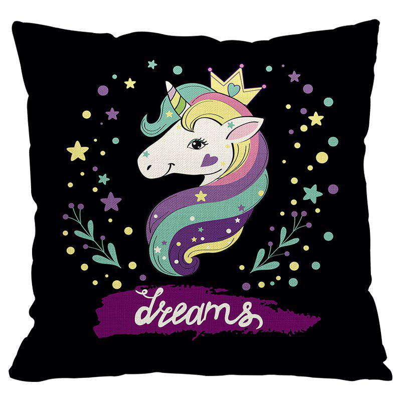 Unicorn Cartoon Car Living Room Sofa Bedroom Cushion Pillow Case - BLACK FLOWER STYLE1