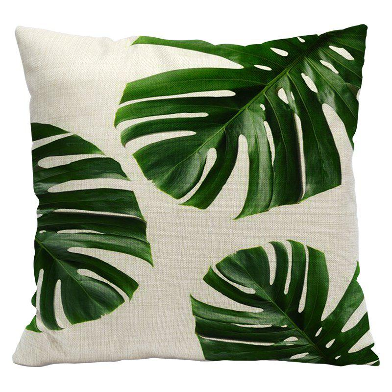 Fresh Green Leaves Fashion Tropical Plants Cotton Linen Pillowcase Cushions Office Pillow Bed Car Waist Back - IVY STYLE1