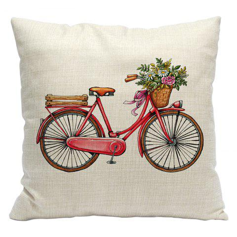Bicycles Simple and Modern 3D Printing Cotton Pillowcase Car Lumbar Sofa Cushions Decorated Office - RED STYLE1