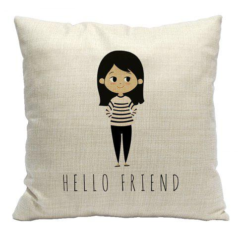 Small Fresh Cartoon Simple Animal Cotton Pillowcase Sofa Car Office Fixed Waist Cushion Decorative Elephant - BEIGE STYLE13