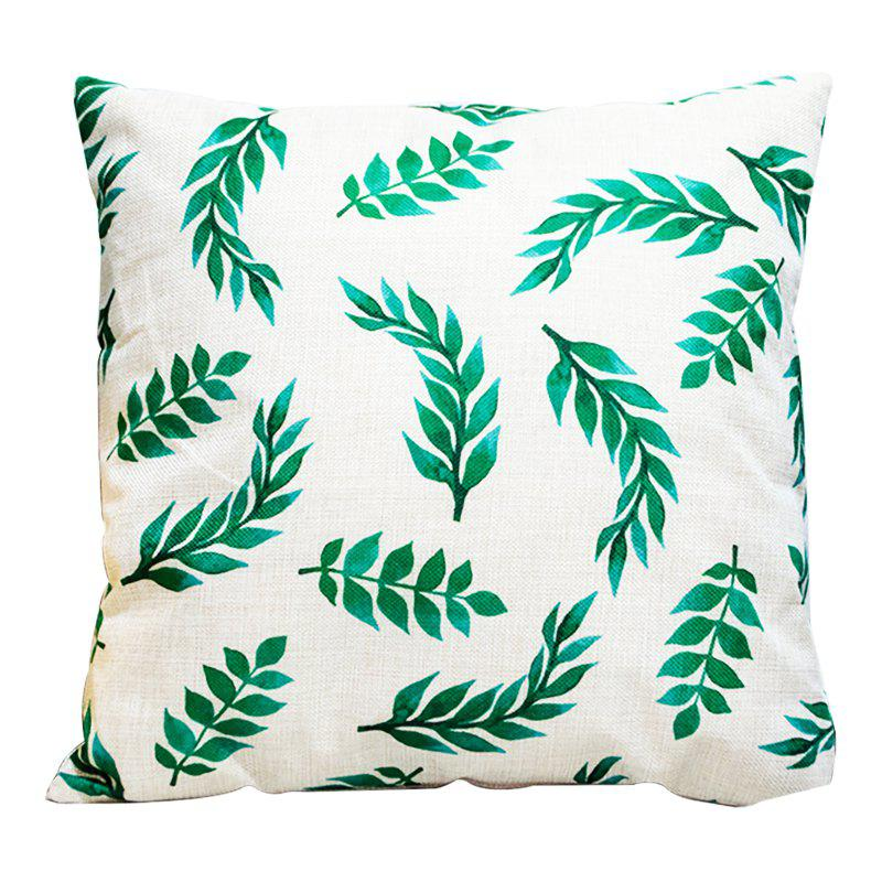 Creative Simplicity Leaves Green Leaf Fashion Cushions Office Pillow Bedside Back Car Waist Cushion Pillowcase - BEIGE STYLE2