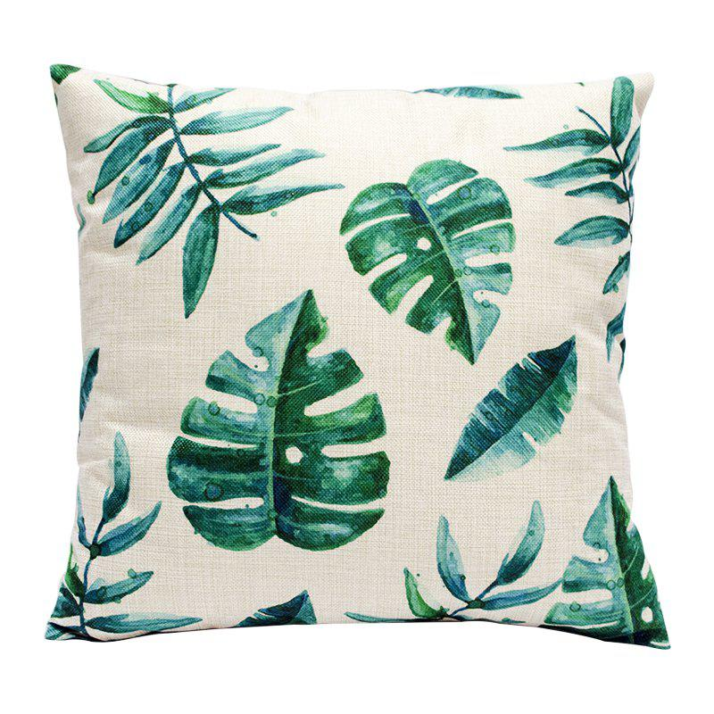 Creative Simplicity Leaves Green Leaf Fashion Cushions Office Pillow Bedside Back Car Waist Cushion Pillowcase - BEIGE STYLE3