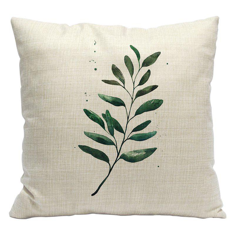 Fashion Green Leaves Fresh Tropical Plants Cotton Linen Pillowcase Cushions Car Office Pillows Bedside Waist - BEIGE STYLE3