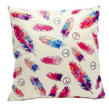 Color Feather Cotton Linen Pillowcase Fashion Sofa Car Lumbar Cushion Decorated Office - BEIGE STYLE1