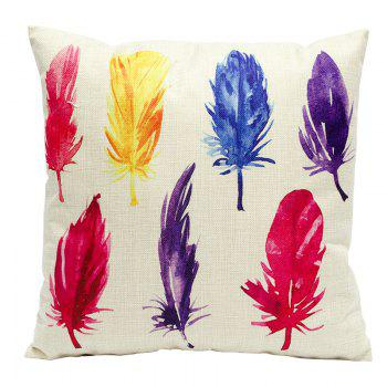 Color Feather Cotton Linen Pillowcase Fashion Sofa Car Lumbar Cushion Decorated Office - BEIGE BEIGE