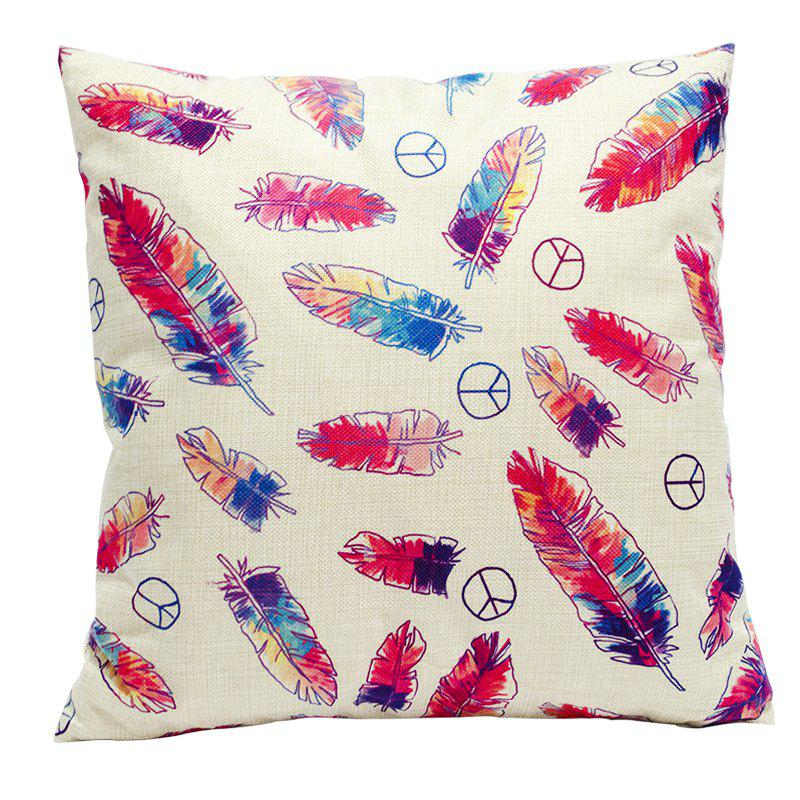Color Feather Cotton Linen Pillowcase Fashion Sofa Car Lumbar Cushion Decorated Office - BEIGE STYLE2