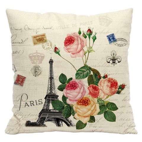 Retro Nostalgic Tower Cotton and Linen Pillowcase Office Sofa Car Lumbar Cushion Decoration European and American Style - BEIGE STYLE5