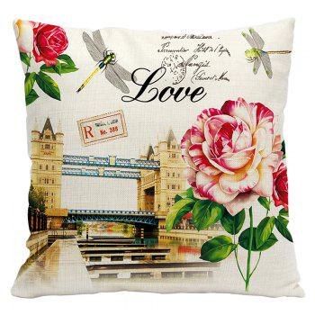 Retro Nostalgic Tower Cotton and Linen Pillowcase Office Sofa Car Lumbar Cushion Decoration European and American Style - BEIGE BEIGE