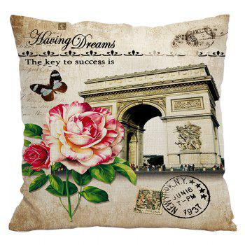 Retro Nostalgic Tower Cotton and Linen Pillowcase Office Sofa Car Lumbar Cushion Decoration European and American Style - BEIGE STYLE8