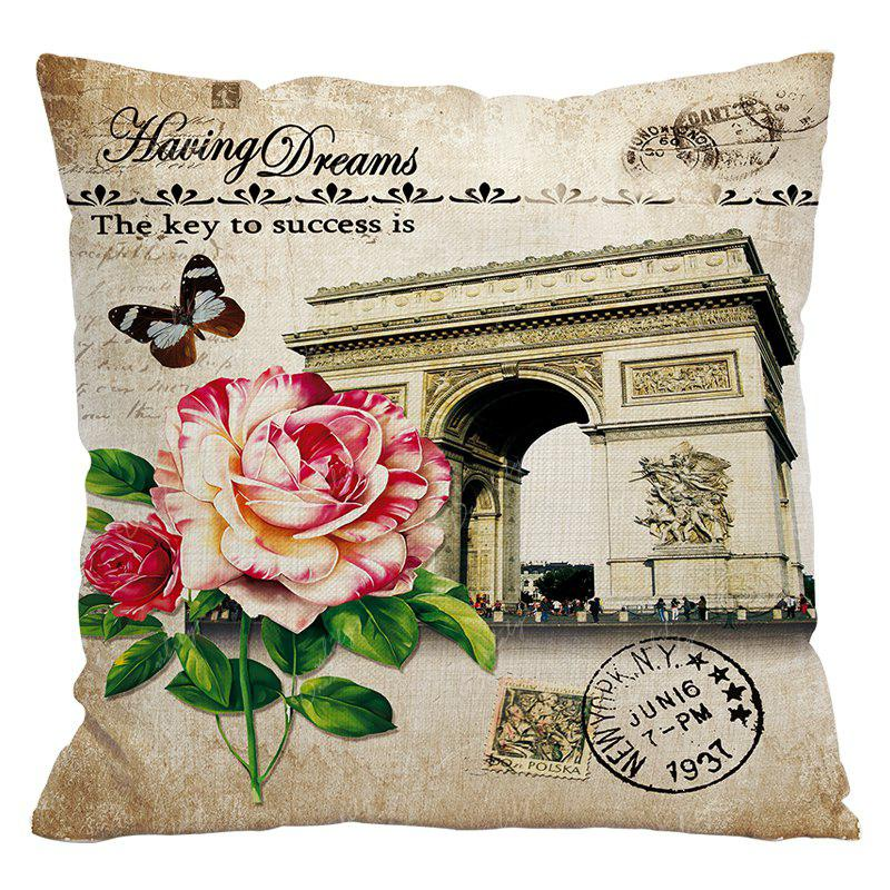 Retro Nostalgic Tower Cotton and Linen Pillowcase Office Sofa Car Lumbar Cushion Decoration European and American Style - BEIGE STYLE9
