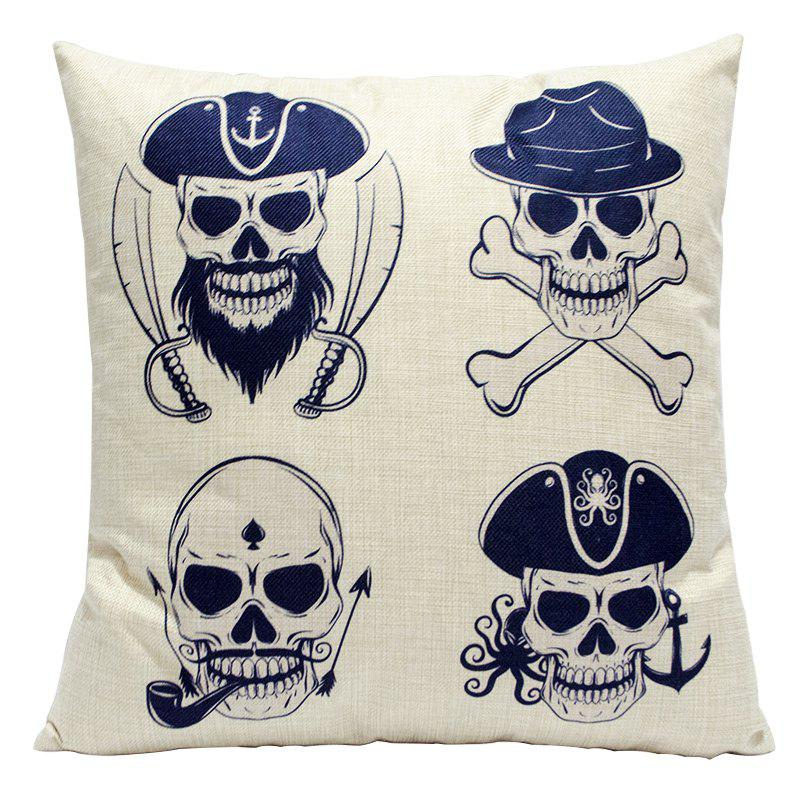 Skeleton Simple Punk Linen Pillowcase Sofa Car Lumbar Cushion Decorative Office Four Seasons Skeleton - BEIGE STYLE2