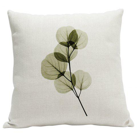 Heavy Cotton Leaf Simple Pastoral Vein Print Pillow Bedroom Sofa Car Cushion Back Cover - BEIGE STYLE2
