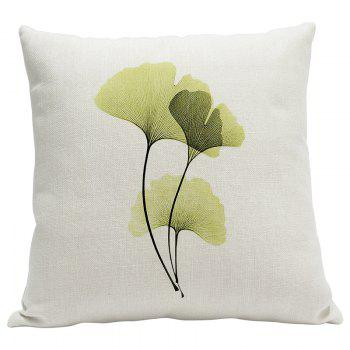 Heavy Cotton Leaf Simple Pastoral Vein Print Pillow Bedroom Sofa Car Cushion Back Cover - BEIGE BEIGE