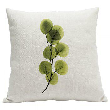 Heavy Cotton Leaf Simple Pastoral Vein Print Pillow Bedroom Sofa Car Cushion Back Cover - BEIGE STYLE12