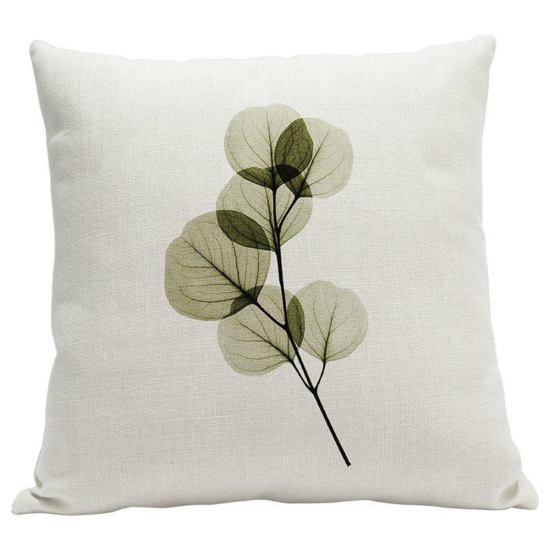 Heavy Cotton Leaf Simple Pastoral Vein Print Pillow Bedroom Sofa Car Cushion Back Cover - BEIGE STYLE3