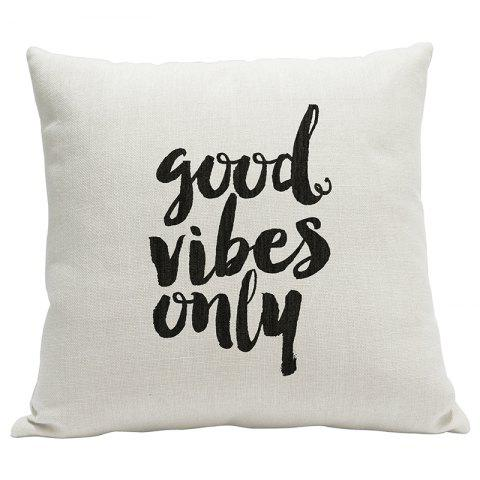 Simple Fresh Fashion English Word Heavy Cotton and Linen Printed Pillow Bedroom Sofa Car Cushion Back Cover - BEIGE STYLE1