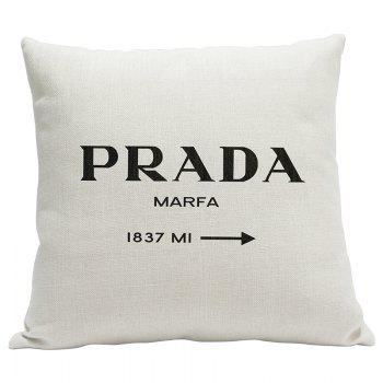 Simple Fresh Fashion English Word Heavy Cotton and Linen Printed Pillow Bedroom Sofa Car Cushion Back Cover - BEIGE BEIGE