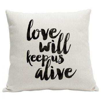 Simple Fresh Fashion English Word Heavy Cotton and Linen Printed Pillow Bedroom Sofa Car Cushion Back Cover - BEIGE STYLE13