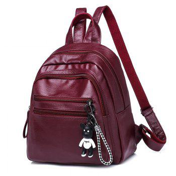 2018 New Korean Fashion Lady All-Match Tide Backpack Leisure Travel Pu Soft Small Backpack NEW Breezy Personality - RED