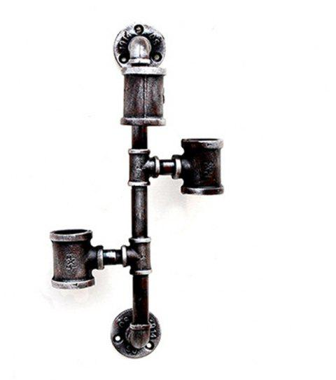 Industrial Wind Iron Art Water Pipe Wall Decoration Wall Hanging Three Red Wine Rack - SILVER