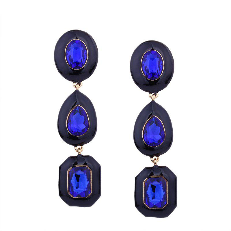 Irregular Geometry Glass Colored Rhinestone Earrings - ROYAL