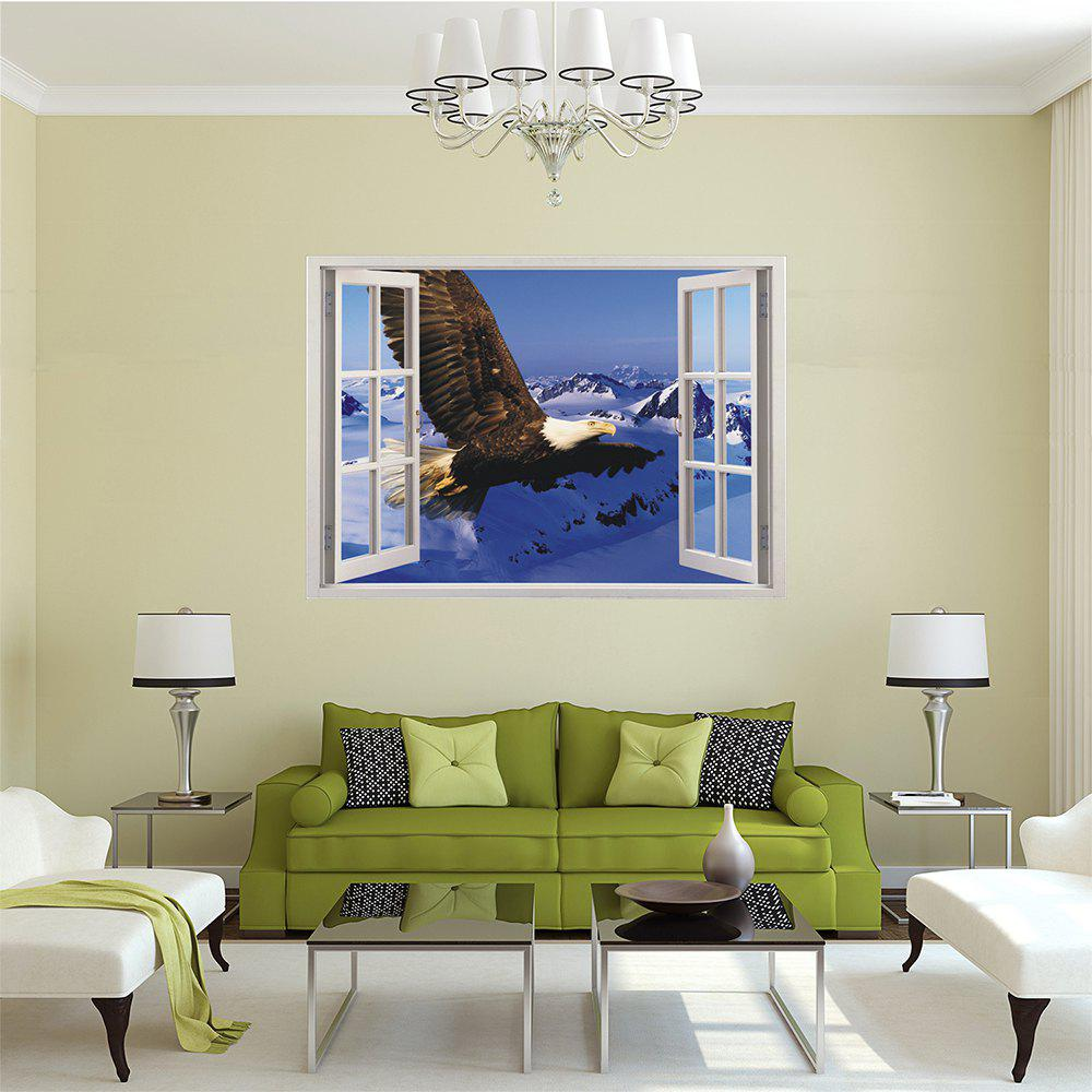 Creative 3D Window Aoxiang Eagle Living Room Bedroom Background Wall Stickers
