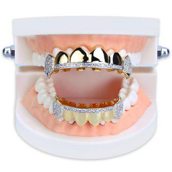 Hip Hop 18K Gold Plated Micro Pave Cubic Zircon Vampire Fangs Teeth Grillz - GOLDEN