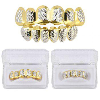 Hip Hop 18K Gold Plated Phi Flowers Teeth Grillz - SILVER