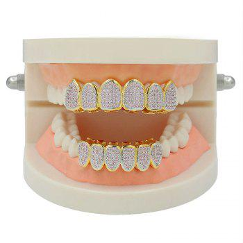Hip Hop 18K Gold Plated Micro Pave Cubic Zircon Pink D Teeth Grillz - GOLD/PINK