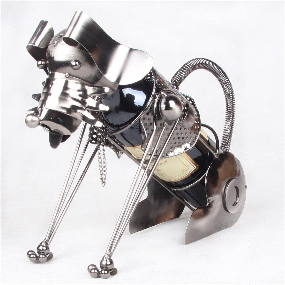 Creative Fashion Metal Figurine Iron Dog Wine Rack Wine Holder - SILVER