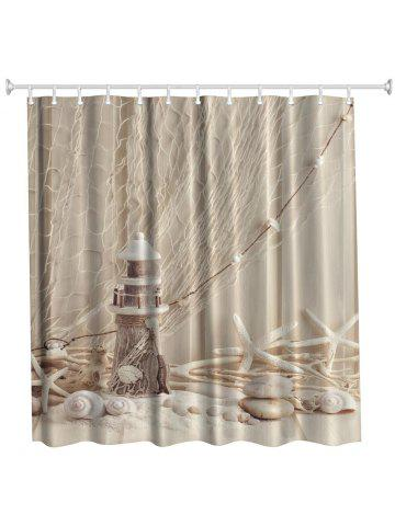 Fishing Net Lighthouse Polyester Shower Curtain Bathroom High Definition 3D Printing Water Proof