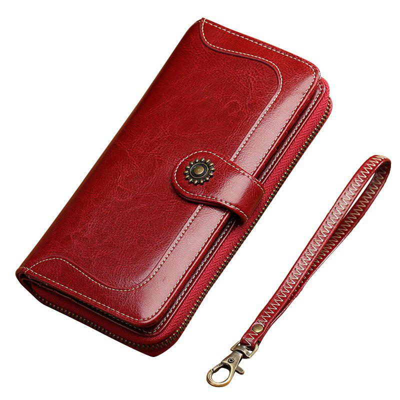 NaLandu Vintage Women Long Large Capacity Luxury Wax Leather Clutch Wallet Multi-function Wristlet Handbag - WINE RED