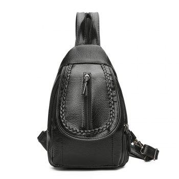 Water washed leather backpack