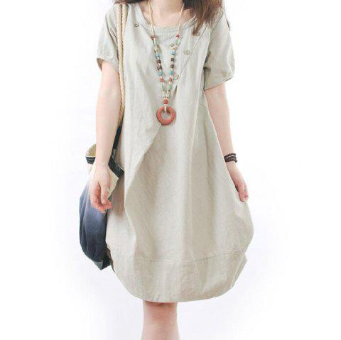 Solid Pockets Short Sleeve Knee-Length Shift Dress - APRICOT L