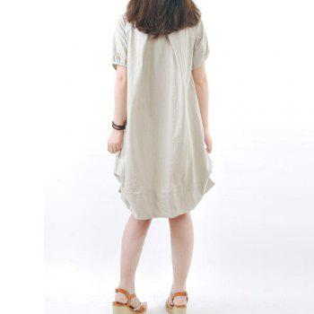 Solid Pockets Short Sleeve Knee-Length Shift Dress - APRICOT XL