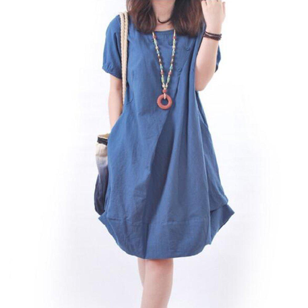 Solid Pockets Short Sleeve Knee-Length Shift Dress - DEEP BLUE L