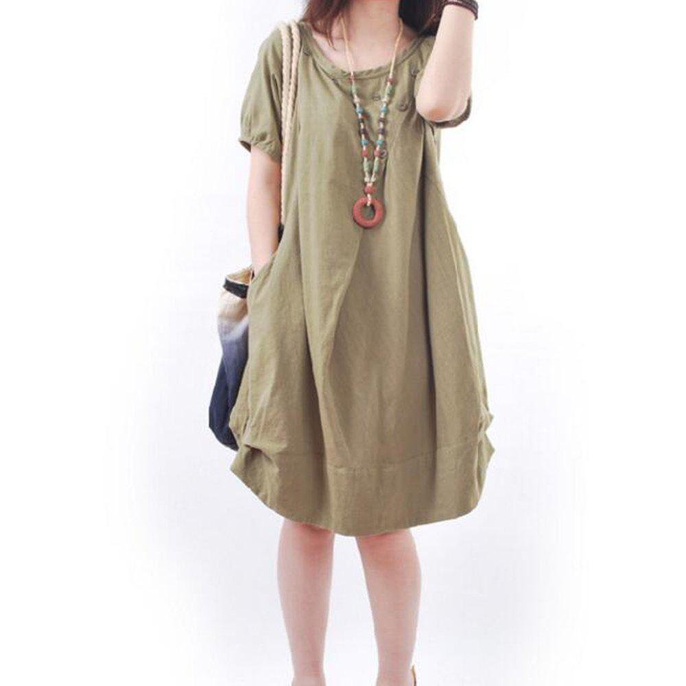 Solid Pockets Short Sleeve Knee-Length Shift Dress - ARMYGREEN XL