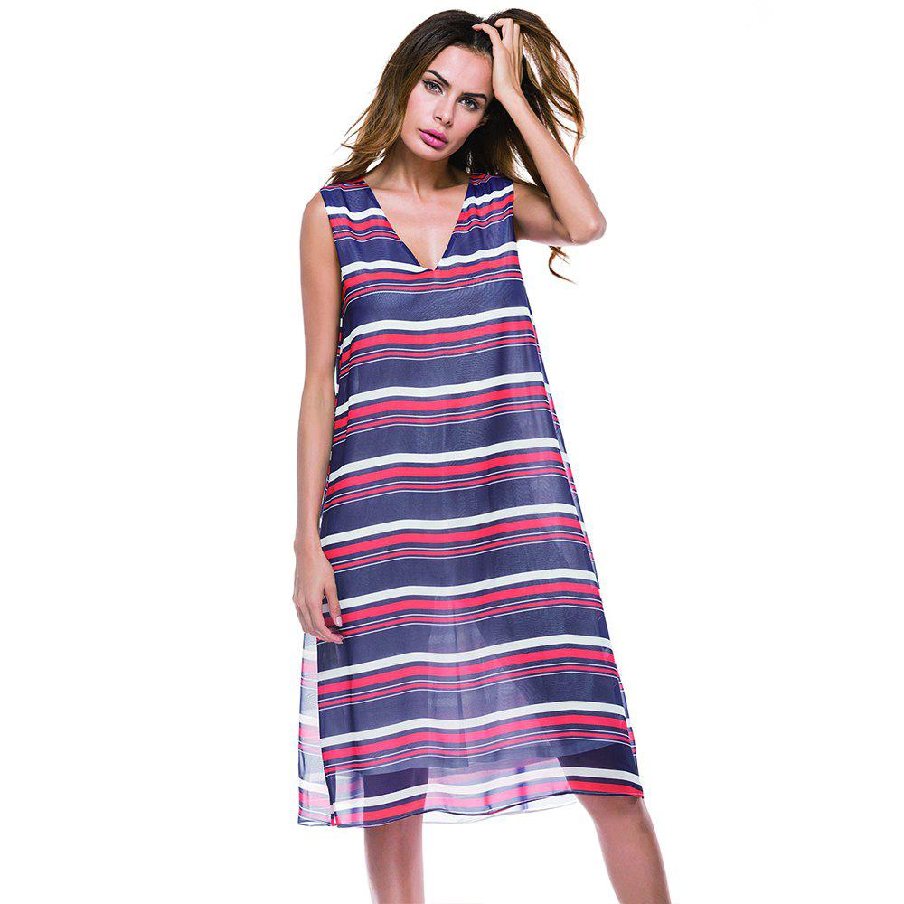 Deep V-neck Horizontal Stripe Print Long Sleeveless Dress - PURPLE L