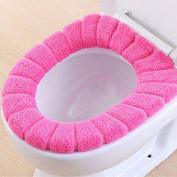 O-Shape Toilet Seats Warm Thick Knitted Pumpkin Pattern Toilet Seat Cushion Diameter - ROSE RED