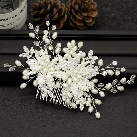Women Wedding Bride Handmade Pearl Crystal Hair Combs Hair Jewelry - SILVER